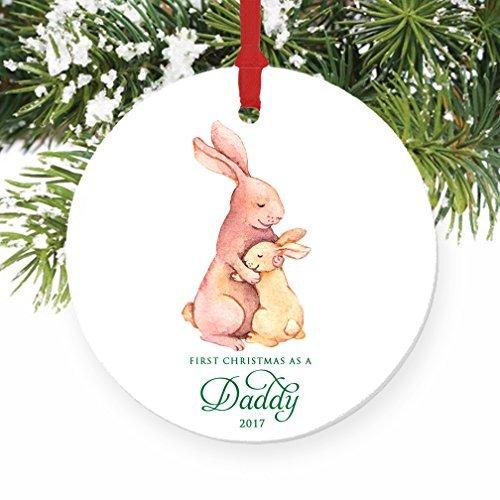 (Weihnachtsschmuck für Bäume Daddy New Vater 1st Christmas As A Dad Bunny Kaninchen Ornament Keramik Crafts für Mädchen xmas Decor)