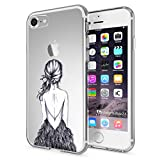 NALIA Coque Protection pour iPhone 7, Housse Motif Silicone Portable Case Cover Transparente, Ultra-Fine Souple Gel Slim Bumper Etui pour Telephone Apple iPhone-7, Designs:Bird Princess