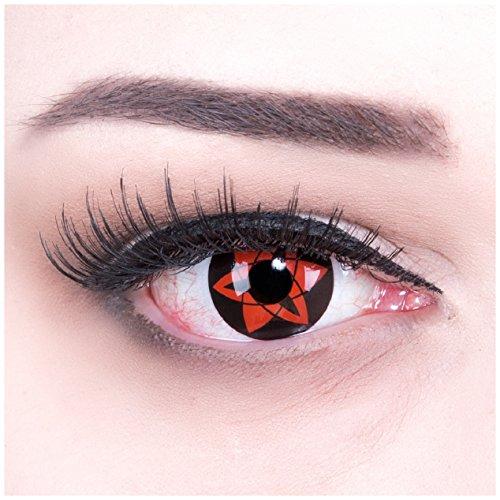 MeralenS Farbige rote Crazy Fun Sharingan Kontaktlinsen 'Sasuke Mangekyu' mit gratis Linsenbehälter + 60ml Pflegemittel, Topqualität zu Fasching, Karneval und Halloween