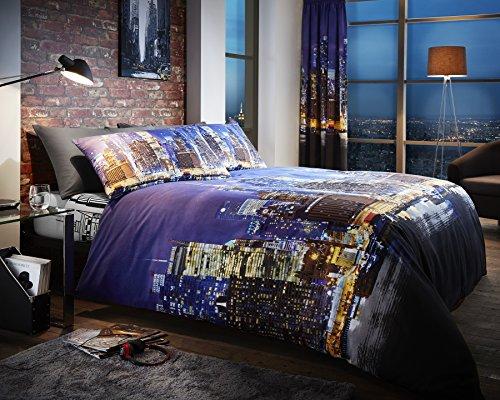 Londres. Linge de lit, New _ York _ _ Nuit avec housse de couette taies d'oreiller, 50 % coton, 50 % polyester, King