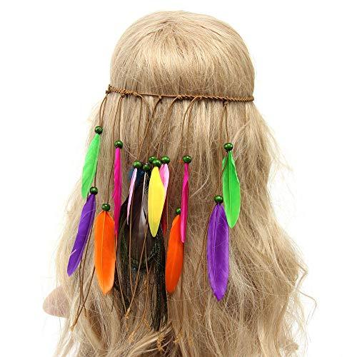 Haarbands,Sasstaids Frauen böhmische Feder Stirnband Hippie Kopfschmuck Haarschmuck GN