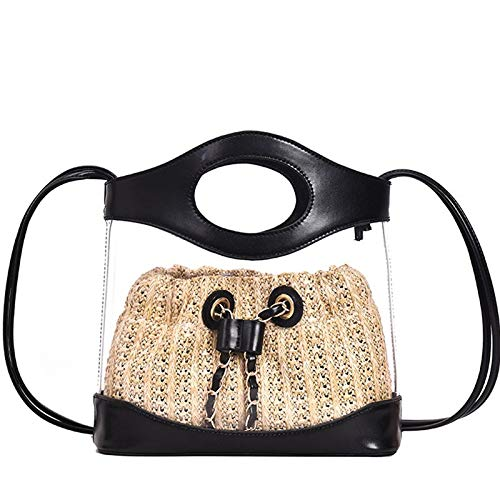Womens Candy Color Diamond Lattice Clear Bags Clear Purse PVC Plastic Transparent Handbags Weekender Shopping Tote See Through Bag for Work-Black Handle