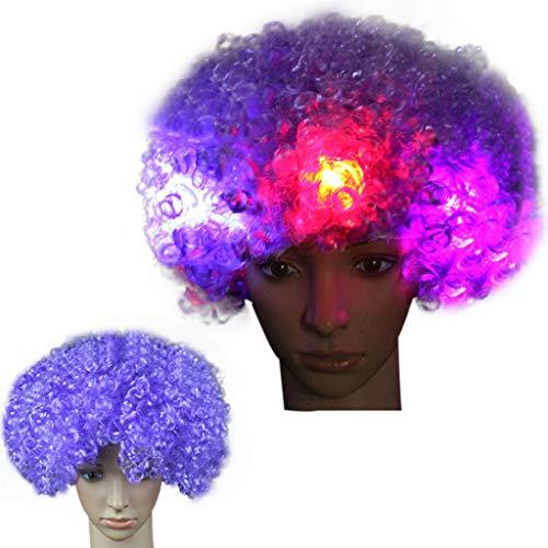 th Baby Hair Pre Plucked for All Skins Party Disco LED Flash Clown Haar Fußball Fan-Erwachsener Afro Maskerade Perücke Explosion Kopf Fake Glow Fan Nacht Marktstand (L) ()
