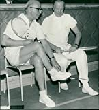 Vintage photo of Bishop John Cullberg and the prostitute Sven Ydén on the way to play tennis