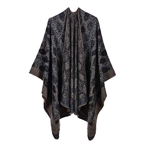 QUROENS Frauen warme Schal Wickeln Cape Winter Schlange Muster Jacquard Strickjacke gestrickte Decke Pullover vorne offen Ponchobraun