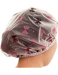 Vertvie Bonnet de Douche Étanche Éxtensible Élastique Shower Cap Bonnet de Bain en Plastique pour Soin des Cheveux
