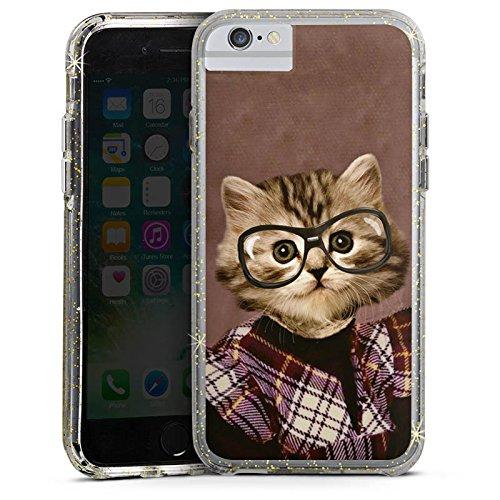 Apple iPhone 6s Bumper Hülle Bumper Case Glitzer Hülle Cat Katze Tiere Bumper Case Glitzer gold