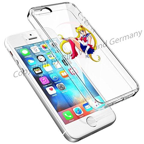 Blitz® DISNEY Schutz Hülle Transparent TPU Cartoon Comic Case iPhone 7 Super Mario Sailor Moon auf Mondsichel