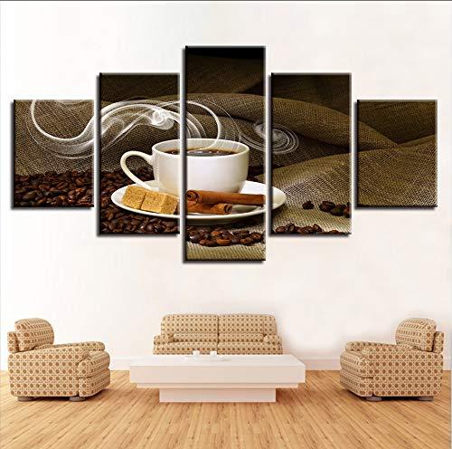 syssyj (Kein Rahmen) Leinwand Gemälde Home Decor5 Stücke Kaffeetasse Bilder Hd Druckt Kaffeebohnen Poster R Kitchen Cafe Wandkunst