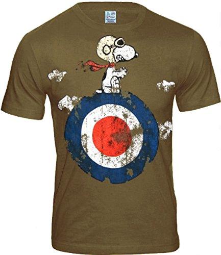 Peanuts original THE Retro Herren T-Shirt SNOOPY TARGET khaki * Gr. S-XL (L) (Retro Herren-khaki)