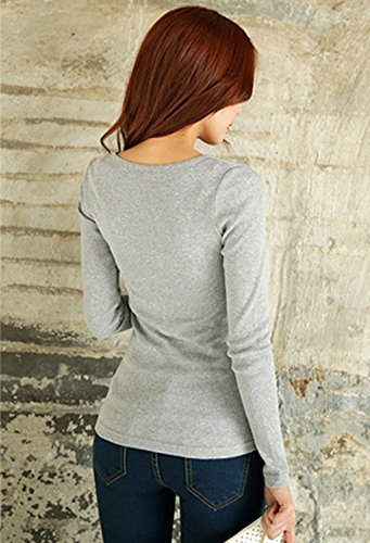 Freestyle L'automne Hiver Femmes Pulls Boutons Slim Chemisiers Haut Shirts Chaud Tops Blouses Chic Tops à Manches Longues Gris