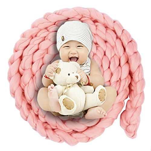 iKulilky Baby Fotografie Prop Wolle Korb Neugeborenen Foto Requisiten Braid Kinderdecke Teppich 0-12 Monate (Teppich-korb)