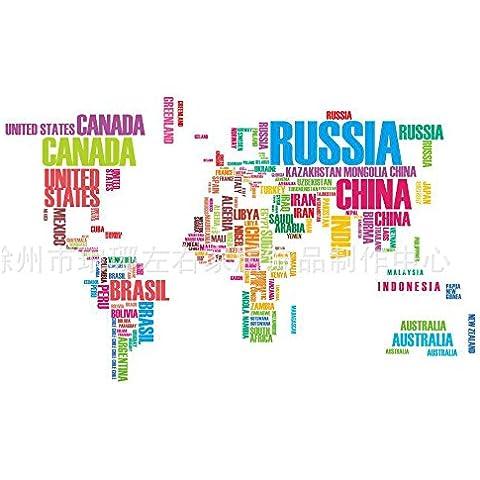 Winhappyhome Etiquetas Engomadas Coloridas Del Arte De La Pared Del Mapa Del Mundo Del Alfabeto IngléS De Para Los