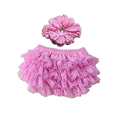 EQLEF® Soft Cotton Carino Lace Ruffle Bloomers Pannolino copre con fascia del fiore per il bambino (colore