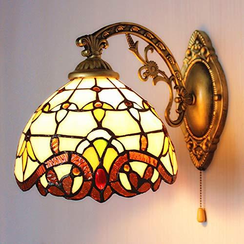 Unbekannt Europäische Tiffany-Stil Wand Lampe, Kreative Bars Coffee Club Korridor LED-Wandleuchte, Eiserne Kunst Glasschatten Bad Spiegeldekoration Licht, E27x1 (Ohne Glühbirne),220V - Tiffany Wand Lampe