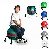 BASIT® Easy Gesundheitsstuhl Bürostuhl + Gymnastikball Kinderstuhl Sitzballstuhl Ballstuhl für Kinder, mit Rollen + 1x schwarzes Sitzkissen, Farbe:bunt
