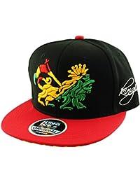 9e77ad019 Itzu Reggae Lion of Judah Emblem Adjustable Snapback Baseball Cap Hat 2  Tone Rasta Jamaica Black