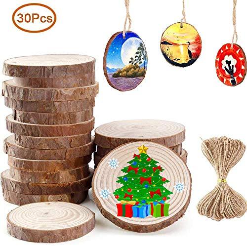 Fette legno naturale decorazioni 6-7cm 30 pz dischetti legno grezzo rotondo con 10m corda iuta fai da te natale feste matrimonio segnaposto dischi legno decorativi