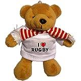 Llavero de oso marrón de peluche con Amo Rugby en la camiseta (nombre de pila/apellido/apodo)