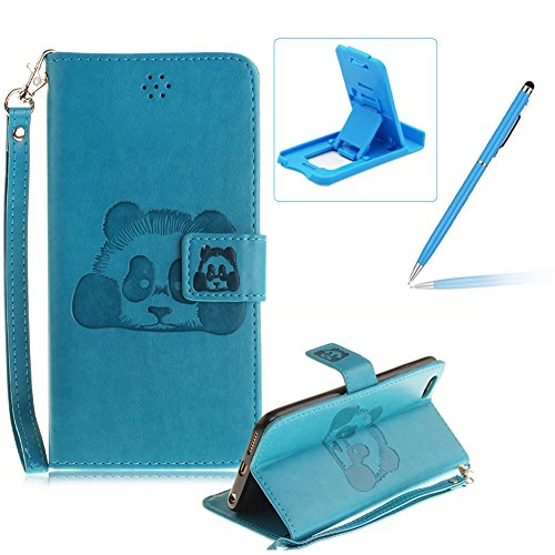 Für iPhone 6 Plus/6S Plus 5.5Zoll Wallet Tasche Brieftasche Schutzhülle,Herzzer Stilvoll Jahrgang [Lovely Panda Prägung] Schutzhülle Wallet Case Design Lederhülle Zubehör im Bookstyle Cover Schale mit Blau