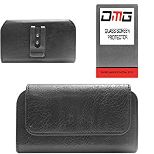 DMG Premium PU Leather Cell Phone Pouch Carrying Case with Belt Clip Holster for micromax Nitro A311 (Black) + Tempered Glass Screen Protector