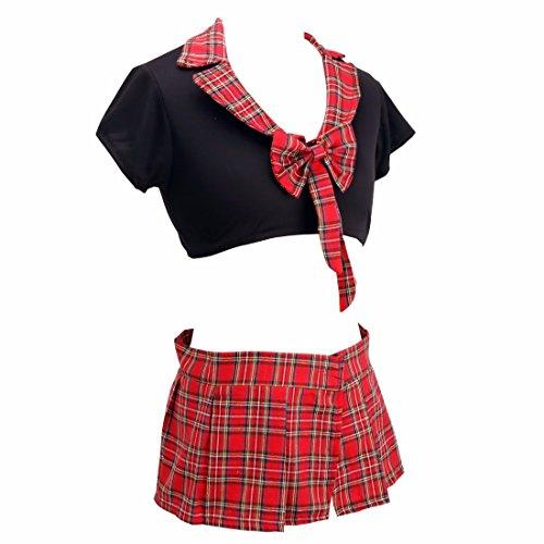 iiniim Damen Schulmädchen Outfit Reizwäsche School Cosplay kostüme Babydoll Uniform Karneval Fasching S-5XL Schwarz&Rot 2