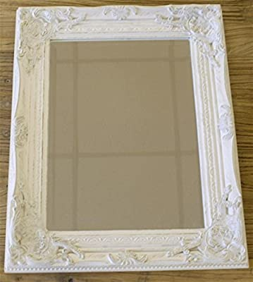 Distressed Antique French Ornate Style White Wall Mirror ~ Shabby Chic