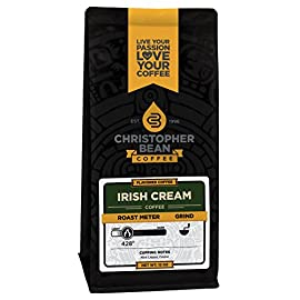Christopher Bean Coffee Flavored Decaffeinated Ground Coffee, Irish Creme, 12 Ounce