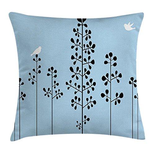 DCOCY Abstrakt Werfen Kissenbezug, Silhouette der Vögel sitzend auf Ast Sky Spring inspiriert Illustration, dekorative quadratisch Accent Kissen Fall, 45,7x 45,7cm, hellblau schwarz