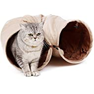 PAWZ Road Cat Pet Tunnel Soft Crinkly Ball Play Fun 2 Holes 25 cm Labyrinth Sprung Steel Creamy White 120 cm