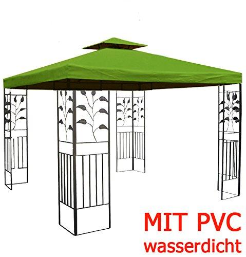 WASSERDICHTER Pavillon TOSKANA 3x3m Metall inkl. Dach Festzelt wasserfest Partyzelt (Waldgrün)