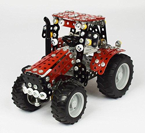 Tronico 10074 - Metallbaukasten Traktor Case IH Puma 230 CVX mit Kippanhänger, Mini Serie, Maßstab 1:32, 797-teilig, rot
