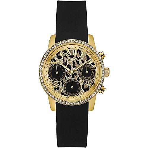 Guess Unisex Erwachsene Chronograph Quarz Uhr mit Leder Armband W0023L6