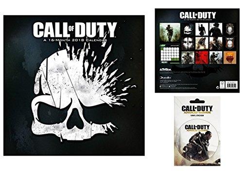 Set: Call Of Duty, Offizieller Poster Kalender 2018 (30x30 cm) Inklusive 1x Poster-Sticker Tattoo Aufkleber (15x10 cm)