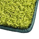 Shaggy Teppich Barcelona   weicher Hochflor Teppich für Wohnzimmer, Schlafzimmer und Kinderzimmer   mit GUT-Siegel und Blauer Engel   verschiedene Größen   viele moderne Farben   80x150 cm   Grün