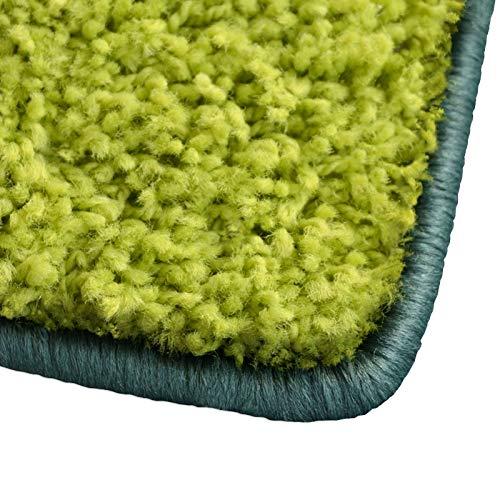 Shaggy Teppich Barcelona | weicher Hochflor Teppich für Wohnzimmer, Schlafzimmer und Kinderzimmer | mit GUT-Siegel und Blauer Engel | verschiedene Größen | viele moderne Farben | 66x130 cm | Grün