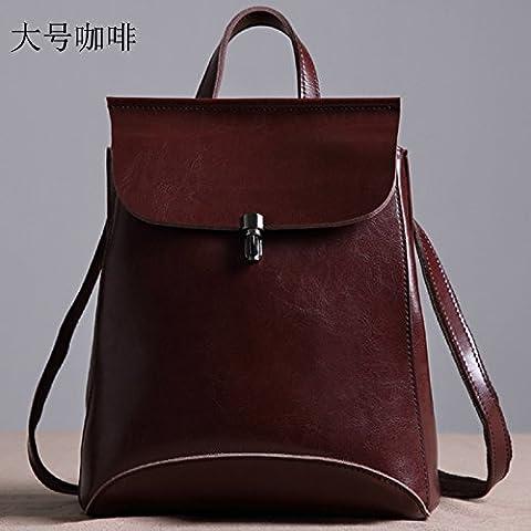 Nuovo originale vera pelle borsa a tracolla Zaino in pelle raddoppia College marea di vento semplice sacchetto di svago,marrone grandi
