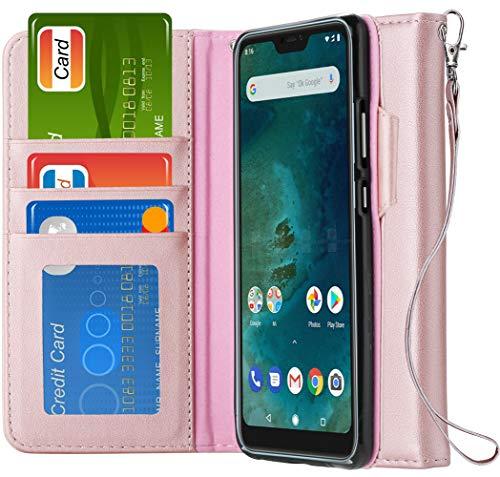 Echtes Leder Brieftasche Id Brieftasche (Ferilinso für Xiaomi Mi A2 Lite Hülle,Elegantes Echtes Leder mit ID Kreditkarten-Slots Halter Flip Cover Stand Magnetic Closure Case für Xiaomi Mi A2 Lite (Roségold))