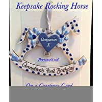 First Birthday Grandson gift Keepsake Glitter Rocking Horse Plaque personalised on a greetings card