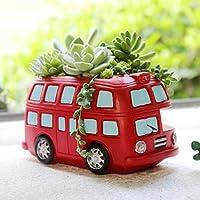 HhGold Flowerpot Red Bus Resin Balcony Succulent Cactus Flower Pot Outdoor Garden Decor (Color : Red, Size : One size)