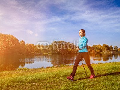 druck-shop24 Wunschmotiv: Nordic walking woman outdoors #118914671 - Bild auf Forex-Platte - 3:2-60 x 40 cm/40 x 60 cm