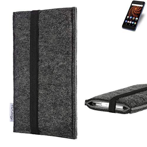 flat.design Handyhülle Lagoa für Allview X4 Soul Mini S | Farbe: anthrazit/grau | Smartphone-Tasche aus Filz | Handy Schutzhülle| Handytasche Made in Germany