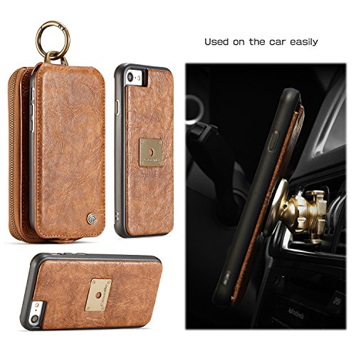 EKINHUI CaseMe Wallet Case mit abnehmbarem TPU PC Slim Back Case, Luxus Retro Serie Elegantes Leder Touchable Schirmleder für iPhone 7 iPhone 8 ( Color : Black ) Brown