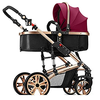 Pushchair, High LandscapeHalf CanopyShock AbsorberReversible Stroller, 180 Degree Reclining, Winter And Summer, Infant Pram,Red