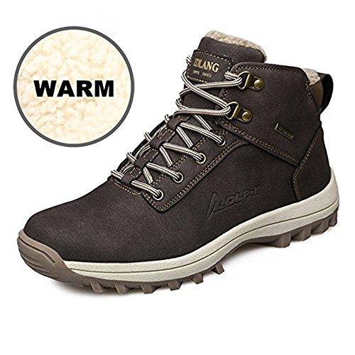 happygo! Herren Winterschuhe Wasserdicht Warm Gefütterte Trekking Wanderschuhe Outdoor Sneaker Schneestiefel Schwarz Braun 39-46 Braun