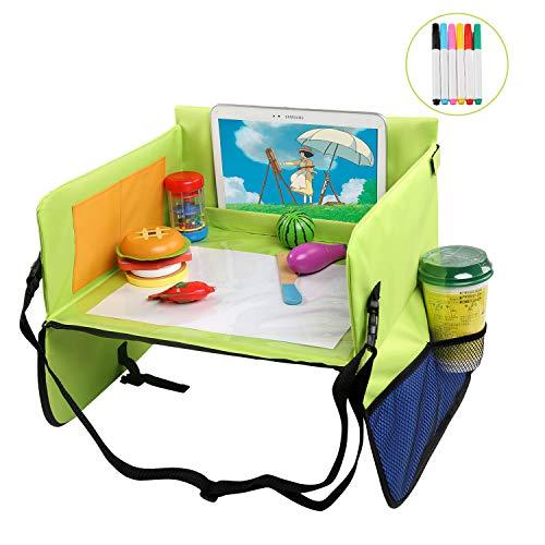 LEADSTAR Kinder Reisetisch Kindersitz Spieltisch Knietablett, Multifunktionaler Einstellbarer Esstisch Autositz mit Transparenter Zeichnungsfilm und 6 Farbstifte für Auto, Kinderwagen, Flugzeug, Bahn
