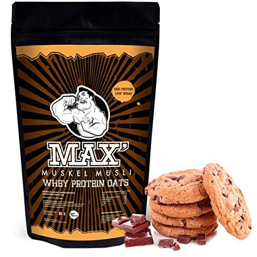Haferflocken-protein-shake (MAX MUSKEL MÜSLI Whey Protein Oats Müsli Haferflocken fein viel Eiweiß Porridge ohne Zucker-Zusatz & Nüsse, fettreduziert Sportlernahrung Muskelaufbau & gesundes Frühstück 500g Beutel Schoko Cookie)