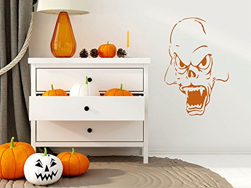 Wandtattoo Wandaufkleber Halloween Vampir Zähne gruselig Gesicht Monster (46x30cm//045 - Vampir-gesicht Halloween-gemälde