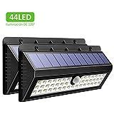 44 LEDs 800 Lúmenes Lamparas Solares con Sensor de Movimiento de OMorc, 3 Modos de iluminación opcionales, la batería 2200mAh Proporcionar hasta 8-12 HORAS y en un Angulo de 120º. IP65 impermeable.