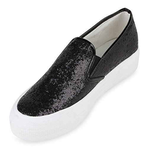 ... Schuhe Slipper Gr Damen Mode Glitzer 41 Kollektion Metallic Schwarz ons  36 Plateau Slip Aktuelle qUXT0 9831f753ac